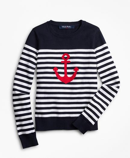 Girls Cotton Anchor Intarsia Sweater