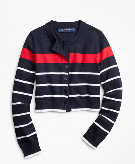 Girls Cotton Stripe Cardigan