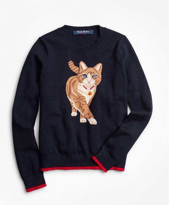 Girls Cotton Kitty Intarsia Sweater Navy-Multi