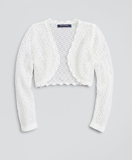 Girls Cotton Scalloped Crochet Cardigan