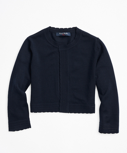 Girls Merino Wool Open Front Cardigan