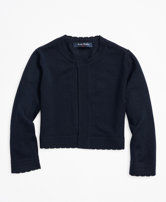 Girls Merino Wool Open Front Cardigan Navy