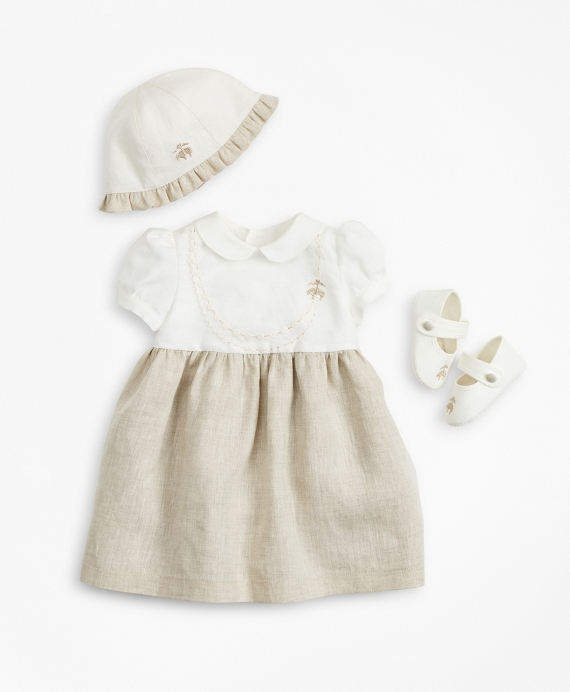 Girls Linen Dress, Hat & Mary Janes Set - 12 Months White