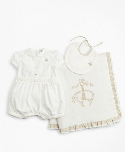 Girls Ruffled Shortall, Bib & Blanket Set - 9 Months