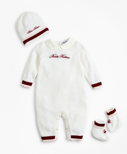 Girls Knit Wool Peter-Pan Collar Bodysuit, Hat & Booties Set - 3 Months