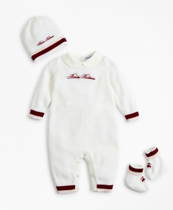 Girls Knit Wool Peter-Pan Collar Bodysuit, Hat & Booties Set - 3 Months White