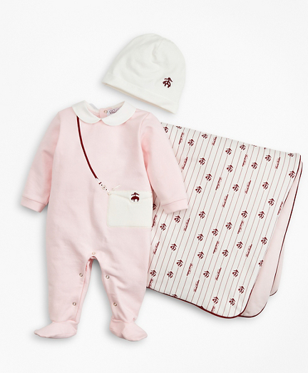 Girls Pinstripes & Purses Stretch Cotton Footie, Hat & Blanket Set - 6 Months