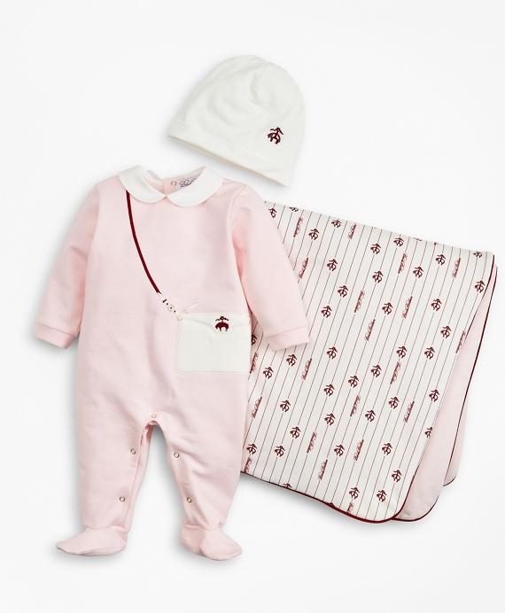 Girls Pinstripes & Purses Stretch Cotton Footie, Hat & Blanket Set - 6 Months Pink