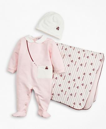 Girls Pinstripes & Purses Stretch Cotton Footie, Hat & Blanket Set - 6 Months