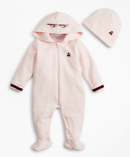 Girls Hooded Footie & Hat Set - 6 Months