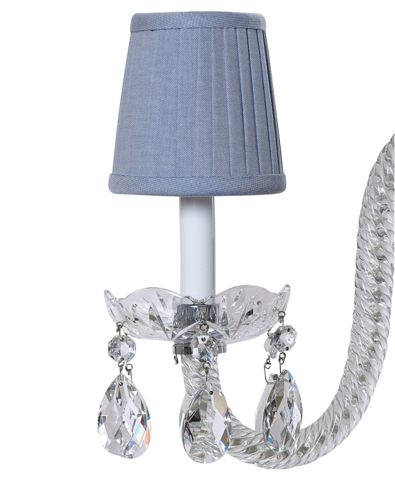 Cotton Oxford Pleated Chandelier Shade Blue