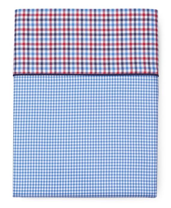 Gingham Queen Flat Sheet Blue
