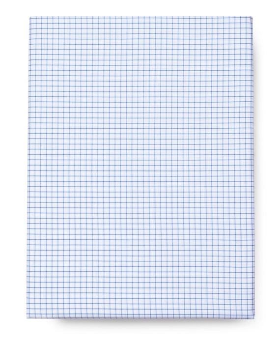 Tattersall Queen Fitted Sheet White-Blue