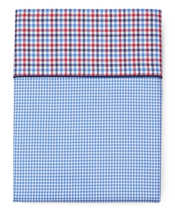 Gingham King Flat Sheet Blue