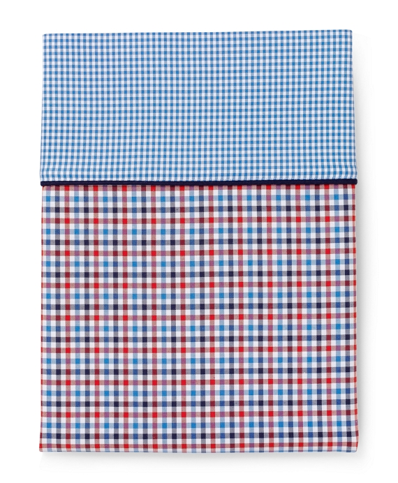 Gingham King Pillow Cases Red-Navy-White