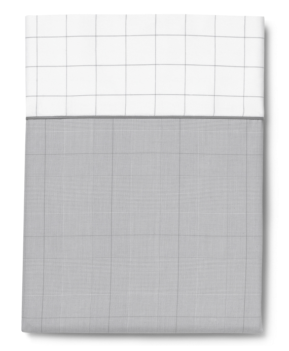 Glen Plaid Full Flat Sheet Grey-White