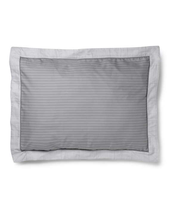 Pinstripe and Glen Plaid Flange Standard Sham Grey