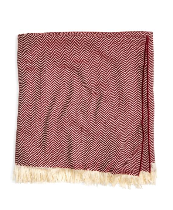 Merino Wool Herringbone Throw Red