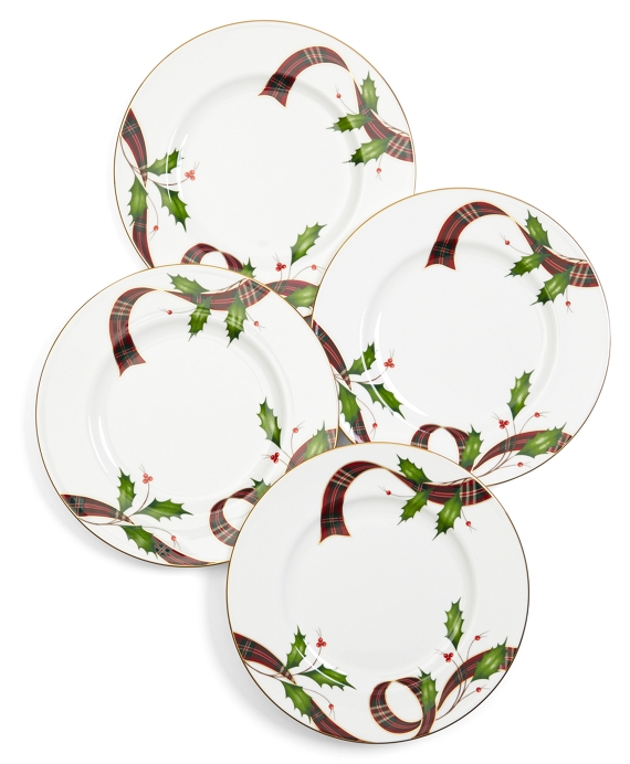 Signature Tartan Four-Piece China Dessert Plate Setting Red Multi