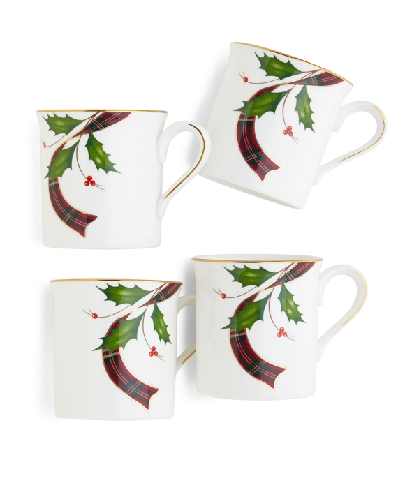 Signature Tartan Four-Piece China Mug Set Red Multi