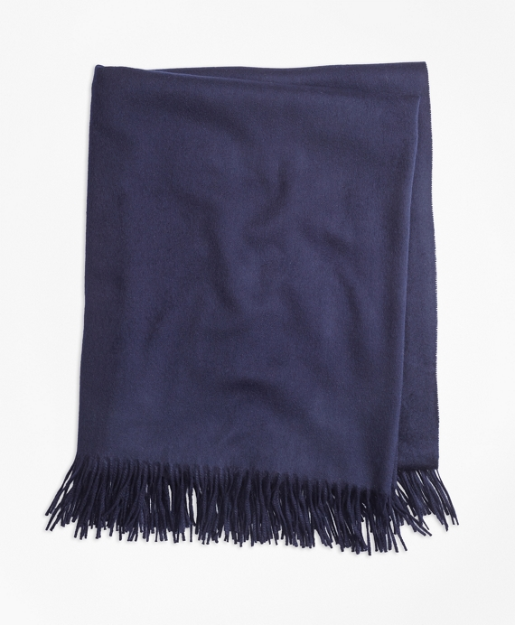 Saxxon™ Wool Blanket with Fringe Navy