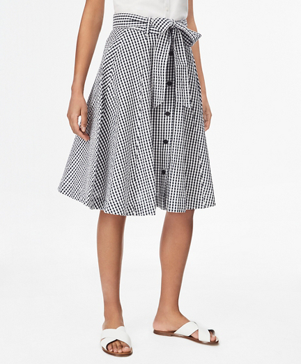 Gingham Cotton Seersucker Skirt