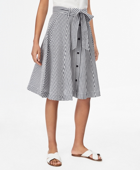 Gingham Cotton Seersucker Skirt Navy