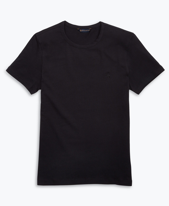 Stretch Cotton Jersey Crewneck T-Shirt Black