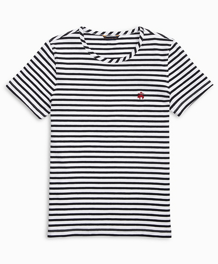 Striped Stretch Cotton Jersey Crewneck T-Shirt