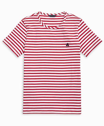 Striped Stretch Cotton Jersey Crewneck T-Shirt