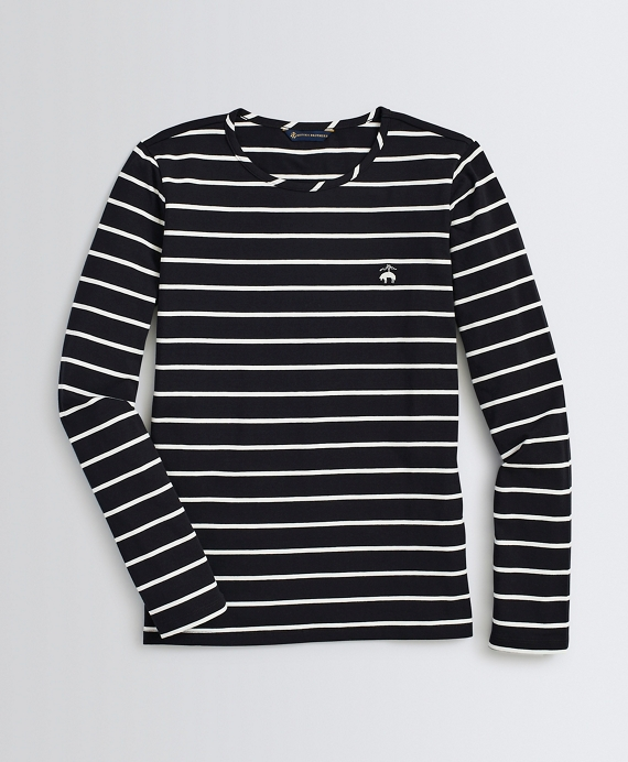 Striped Stretch-Cotton Jersey Long-Sleeve T-Shirt Black