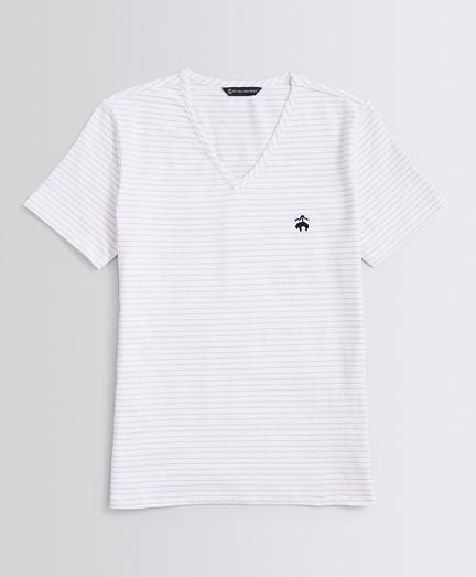 Striped Stretch-Cotton Jersey V-Neck T-Shirt
