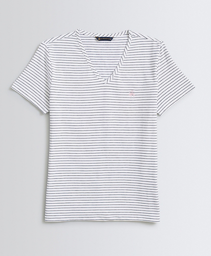 Striped Stretch-Cotton Jersey V-Neck T-Shirt