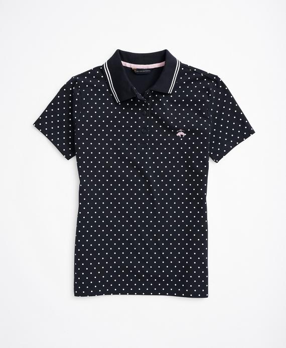 Polka-Dot Stretch Cotton Pique-Knit Polo Shirt Navy