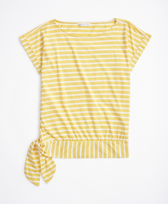 Striped Jersey Dolman-Sleeve Top Yellow
