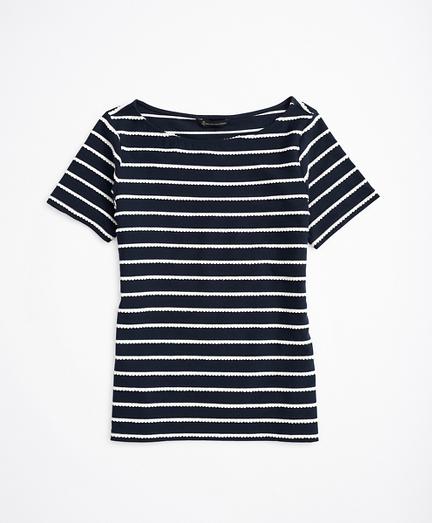 Scalloped-Striped Bateau-Neck T-Shirt