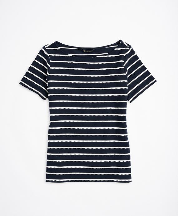 Scalloped-Striped Bateau-Neck T-Shirt Navy