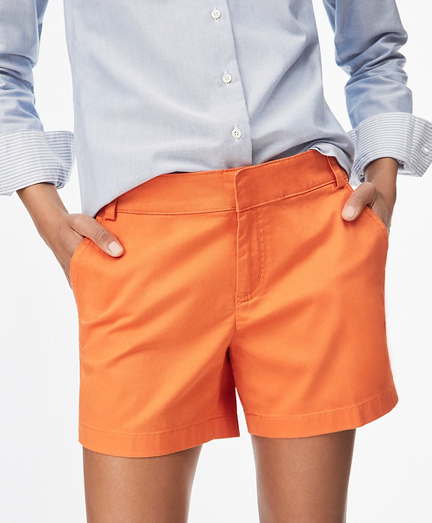 Stretch Cotton Sateen Shorts