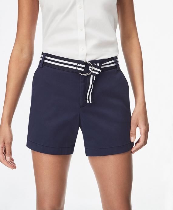 Stretch Cotton Twill Shorts Navy