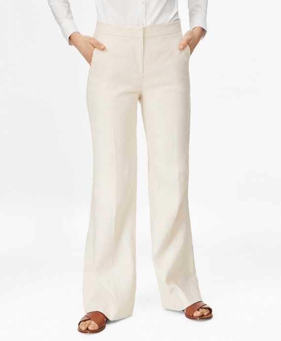 Linen Wide-Leg Pants Light Beige