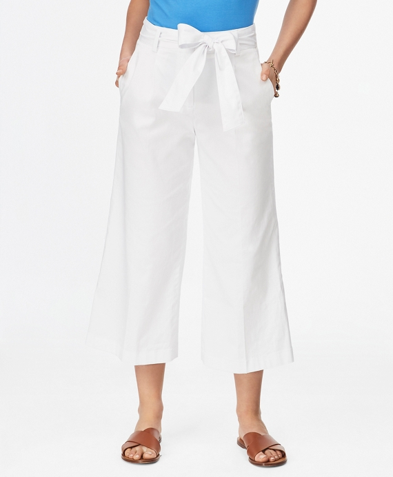 Stretch Cotton Sateen Wide-Leg Pants White