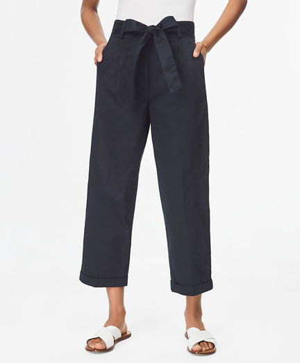 Stretch Cotton Sateen Pleated Pants