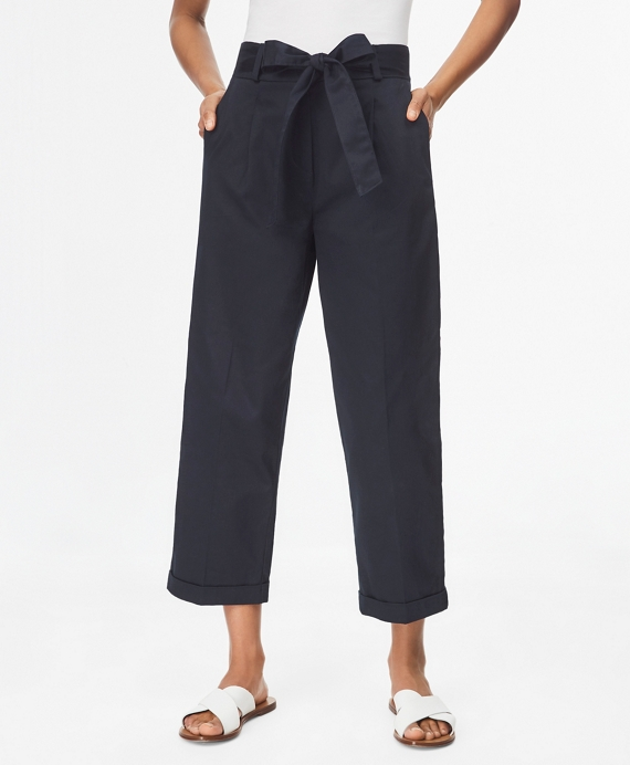Stretch Cotton Sateen Pleated Pants Navy