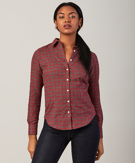 Fitted Checked Cotton Flannel Shirt