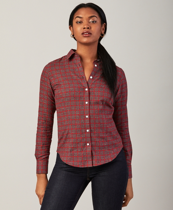 Fitted Checked Cotton Flannel Shirt Red-Multi