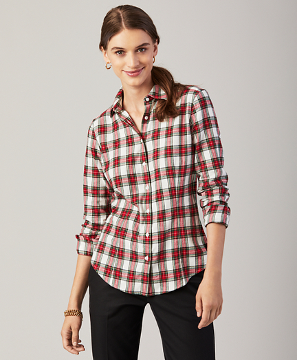 Fitted Plaid Cotton Flannel Shirt
