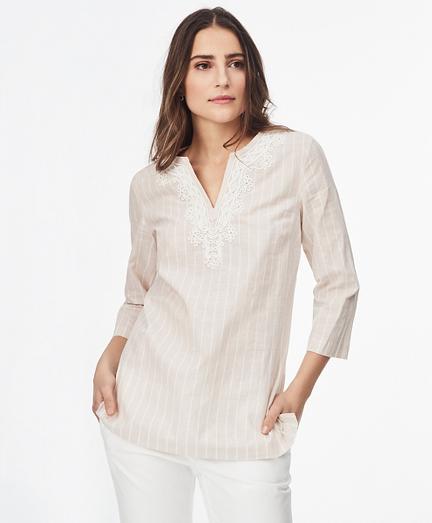 Striped Linen-Cotton-Blend Tunic