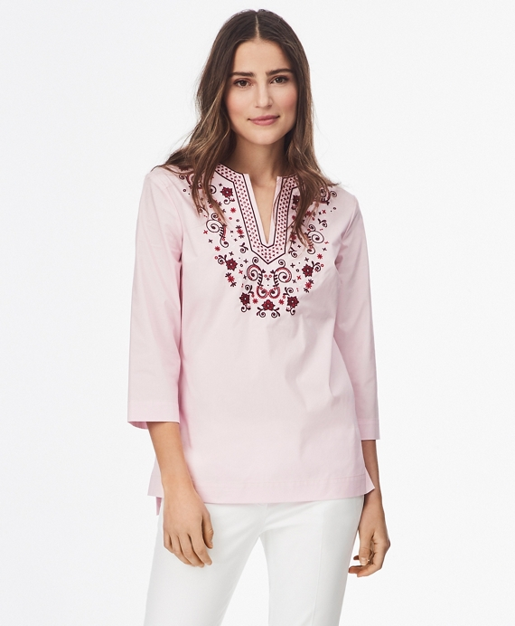 Floral-Embroidered Stretch Cotton Tunic Pink