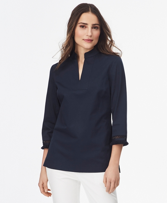 Fringe-Trimmed Cotton Sateen Tunic Navy