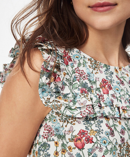 Floral-Print Cotton Poplin Blouse